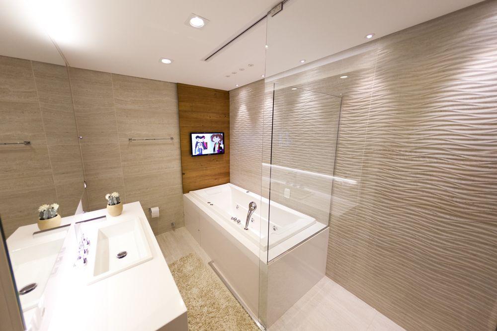Banheiro  Arquiteta Mariangela Pizon Produto Cerâmica Portinari #ceramicap -> Banheiro Com Banheira Individual