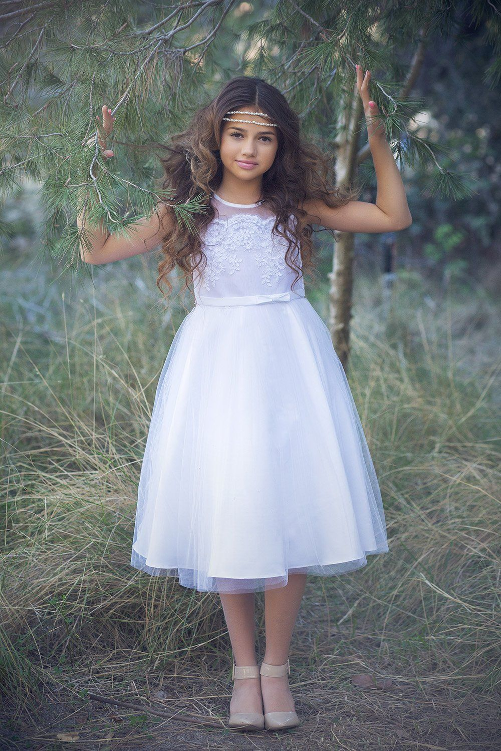White Satin Tulle Skirt Flower Girl Dress With Scalloped Lace On