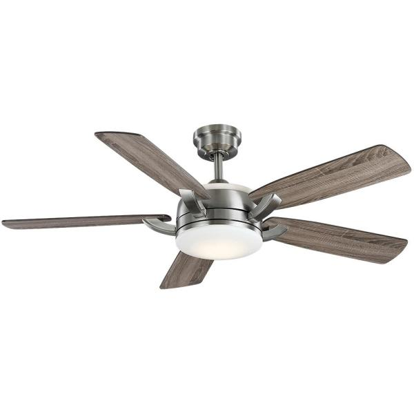 Home Decorators Collection Colemont 52 In Integrated Led Brushed Nickel Ceiling Fan With Light And Remote Control 51820 The Home Depot Ceiling Fan Brushed Nickel Ceiling Fan Fan Light