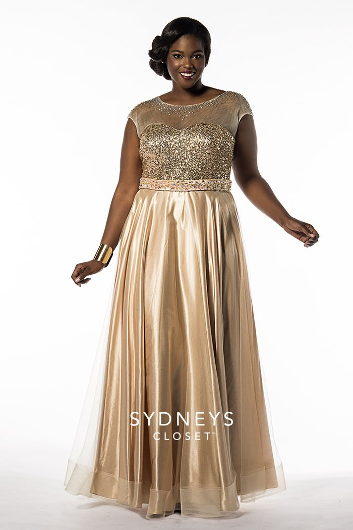 Sydney\'s Closet SC7162 Plus Size Cap Sleeve A-Line Gold Prom Dress ...