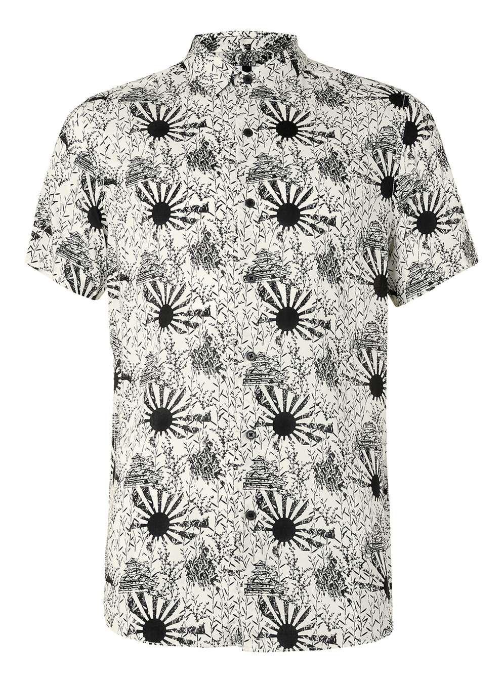 48b6e5188520 Off White and Black Sun Print Casual Shirt