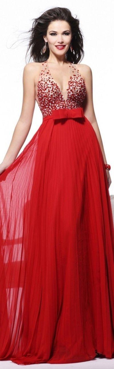 Tarik Ediz couture   Chiffon abendkleider, Rote ...