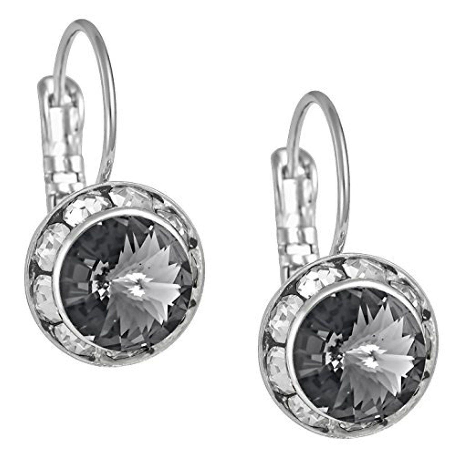 Swarovski Crystal Elements Silver Tone Framed Black Diamond Color