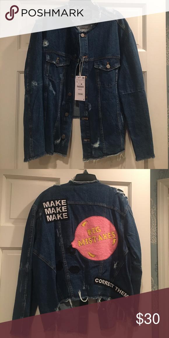46384daa NWT Zara Distressed Appliquéd Denim Jacket NWT Zara Denim Jacket in size  Large. Distressed with