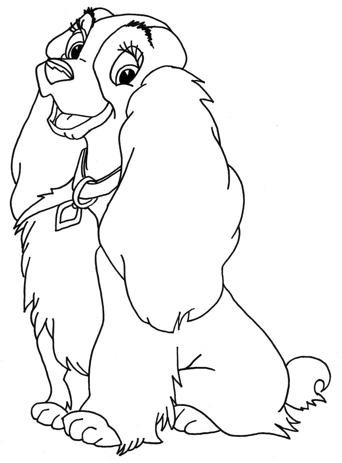 Disney coloring pages lady from the lady and the tramp for Print out coloring pages disney