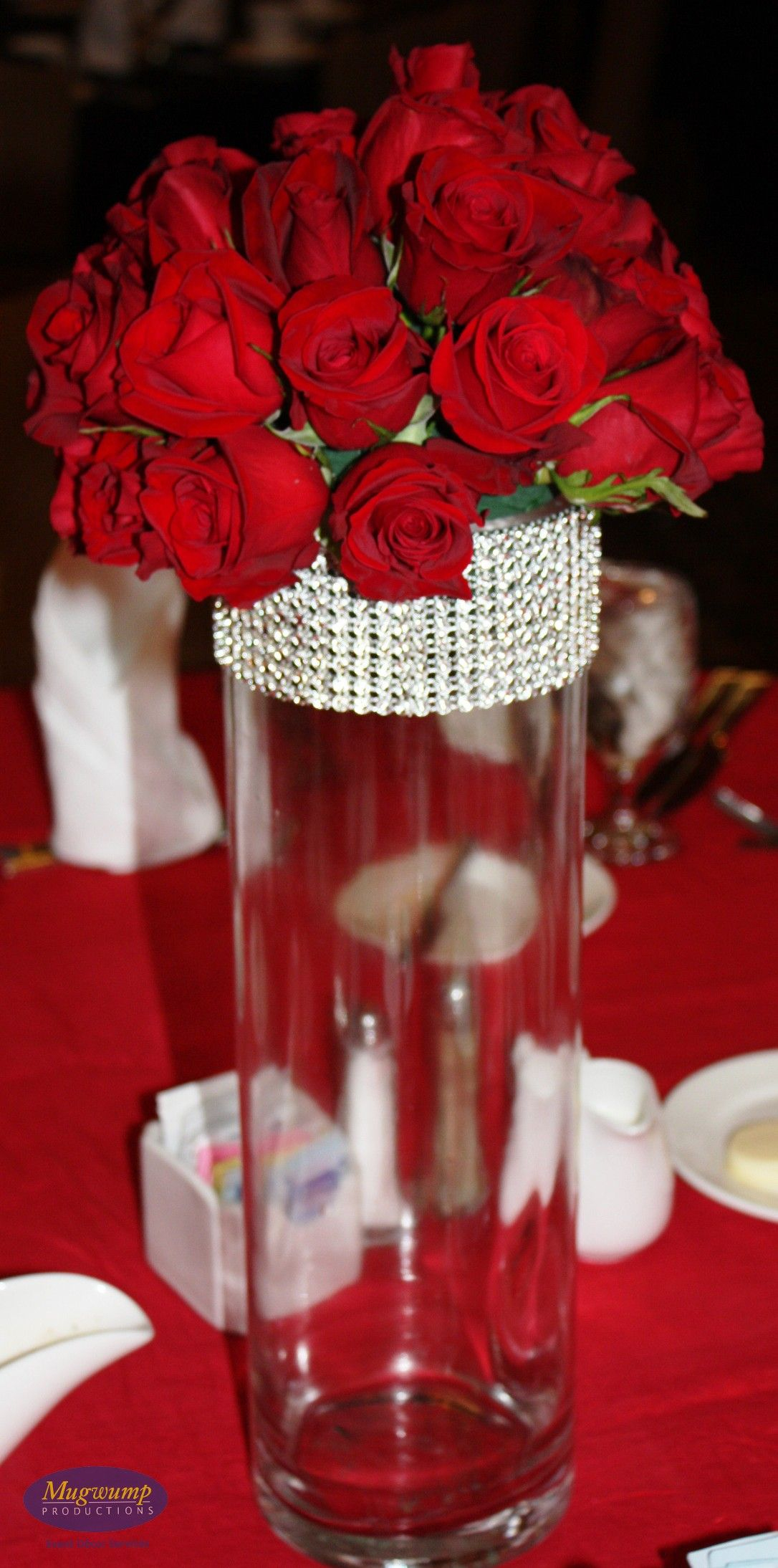 Tall Red Centerpiece : Tall red rose wedding centerpieces
