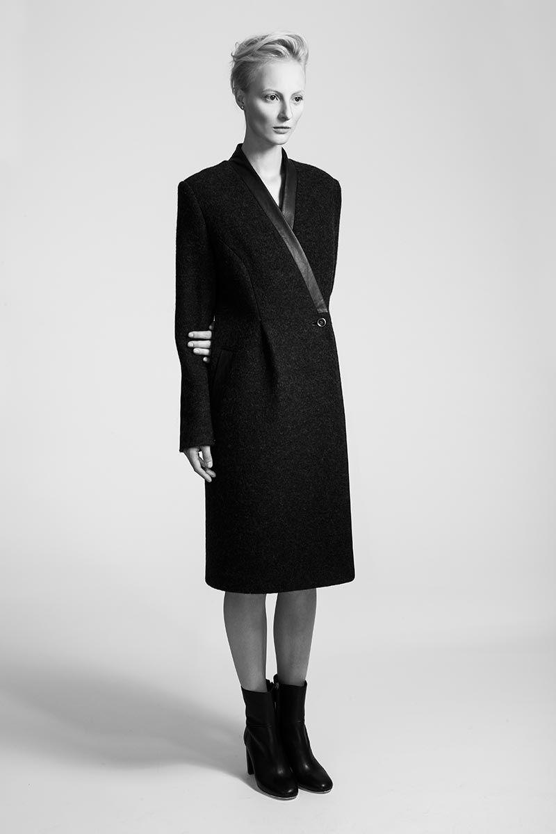 IMRECZEOVA FW15 merino wool coat with leather details