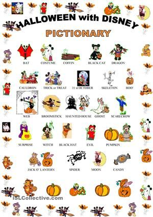 halloween pictionary with disney characters - Esl Halloween Games