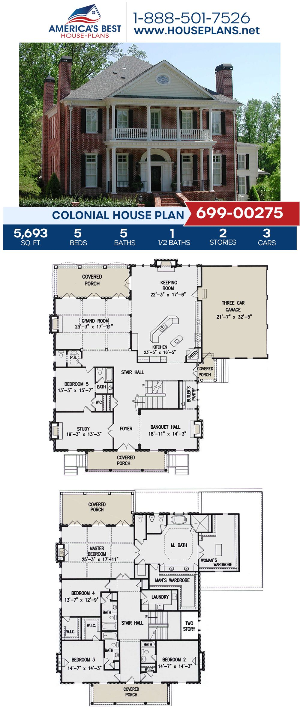 House Plan 699 00275 Colonial Plan 5 693 Square Feet 5 Bedrooms 5 5 Bathrooms Colonial House Plans Farmhouse Floor Plans Porch House Plans