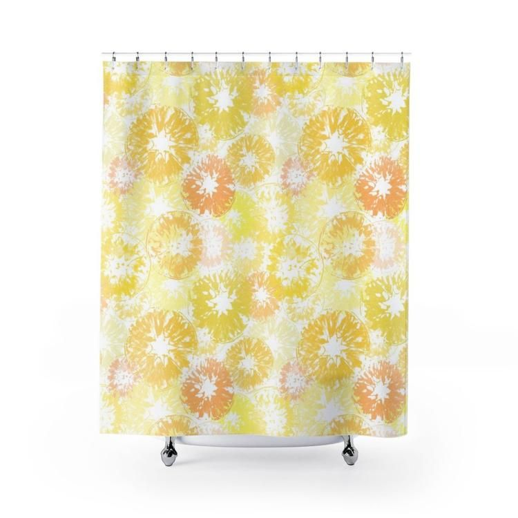 Sunny Yellow Lemon Orange On White Citrus Print Shower Curtain