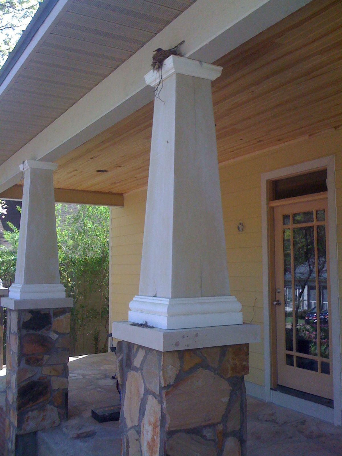 Classic craftsman bungalow column with bird 39 s nest it for Craftsman style columns