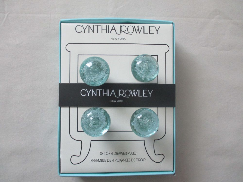 New Cynthia Rowley Set / 4 Round Glass Cabinet Knobs Drawer Pulls ...