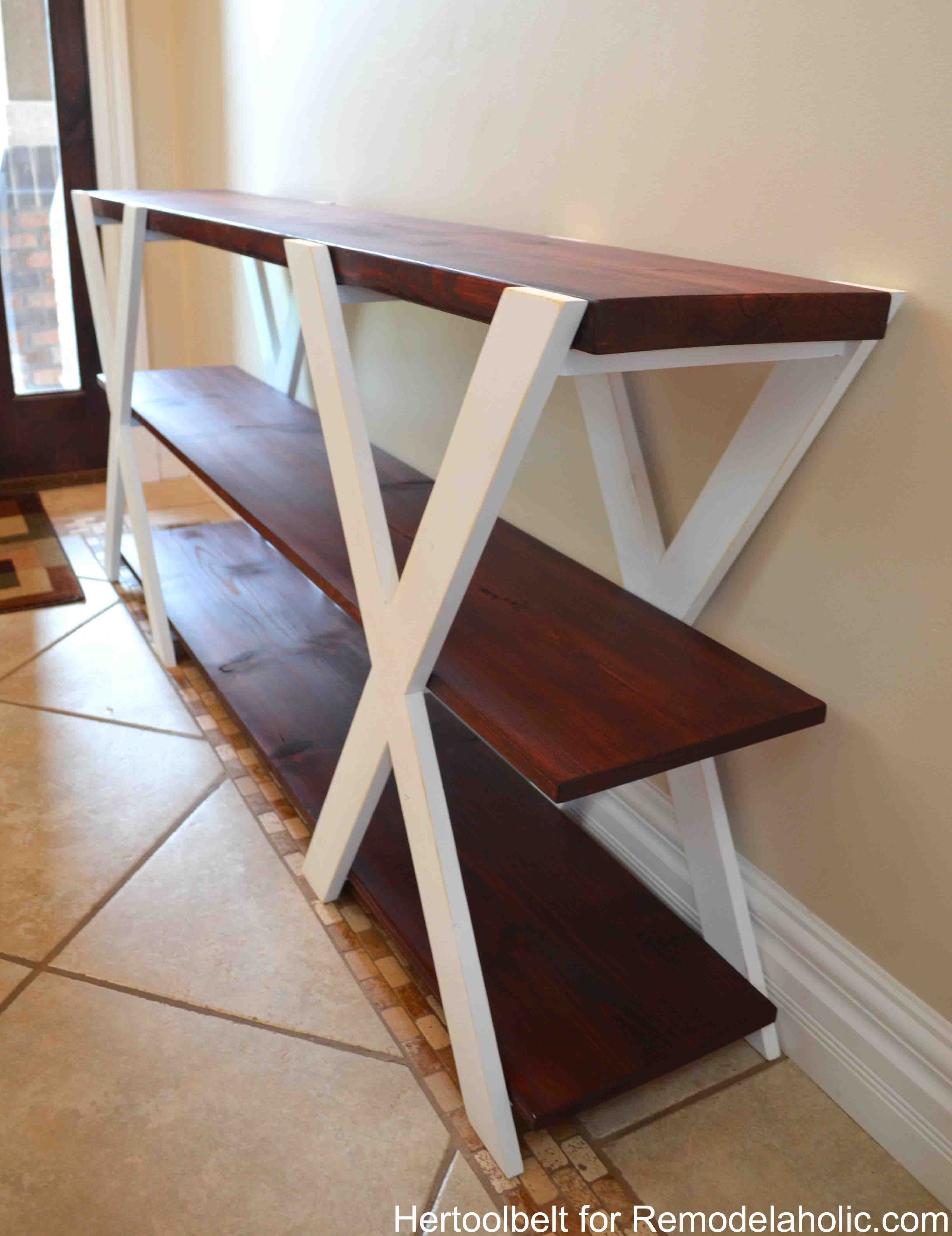An easy build diy double x console table for your entryway build an easy build diy double x console table for your entryway build for less geotapseo Choice Image