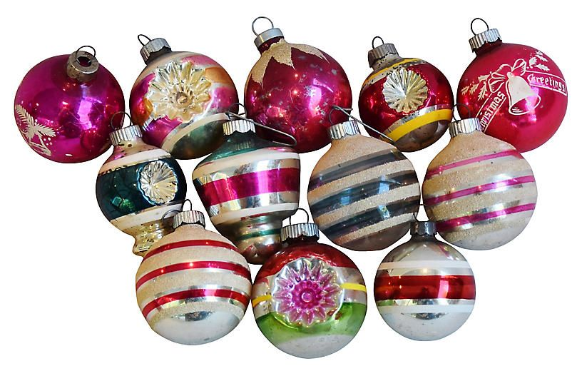 1960s Christmas Ornaments W Box Set Of 12