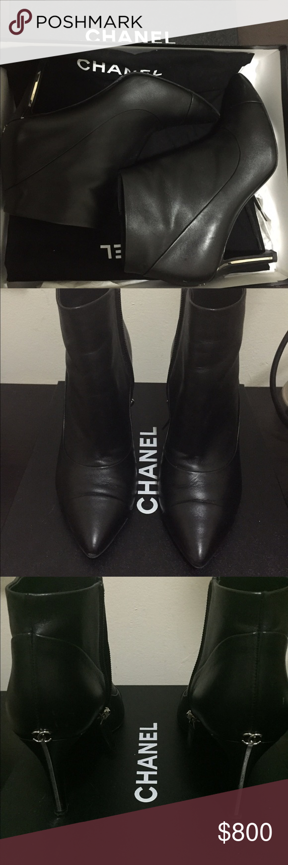 Chanel Ankle Booties Black with silver heel. Worn twice. Size 6.5 U.S. Comes with bags and box. Chanel Shoes Ankle Boots & Booties