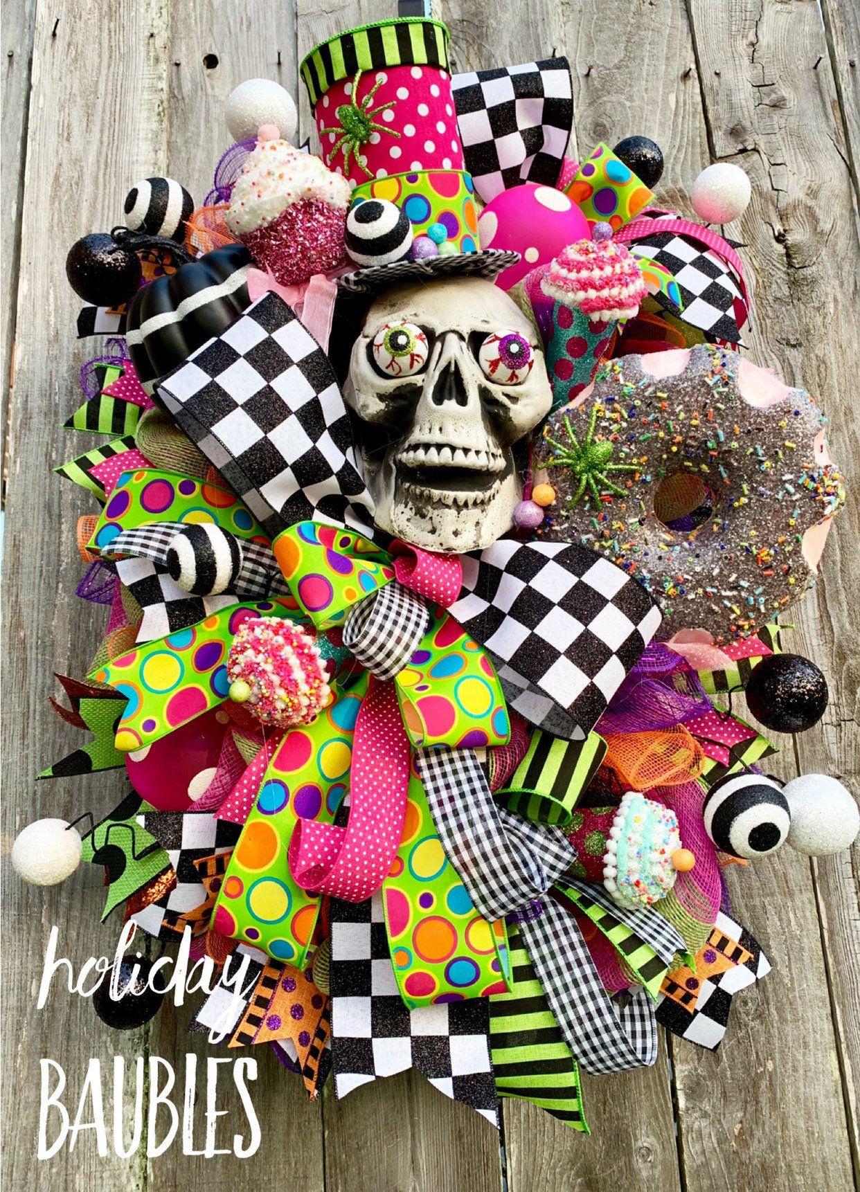 Halloween Wreath Mr Bones Wreath Fun Halloween Wreath