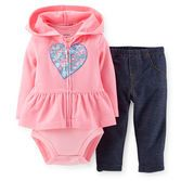 This hooded cardigan set has everything your baby girl needs for a complete outfit. A floral heart embellishment pairs with a coordinating short-sleeve bodysuit and faux denim for a quick and cute combo.