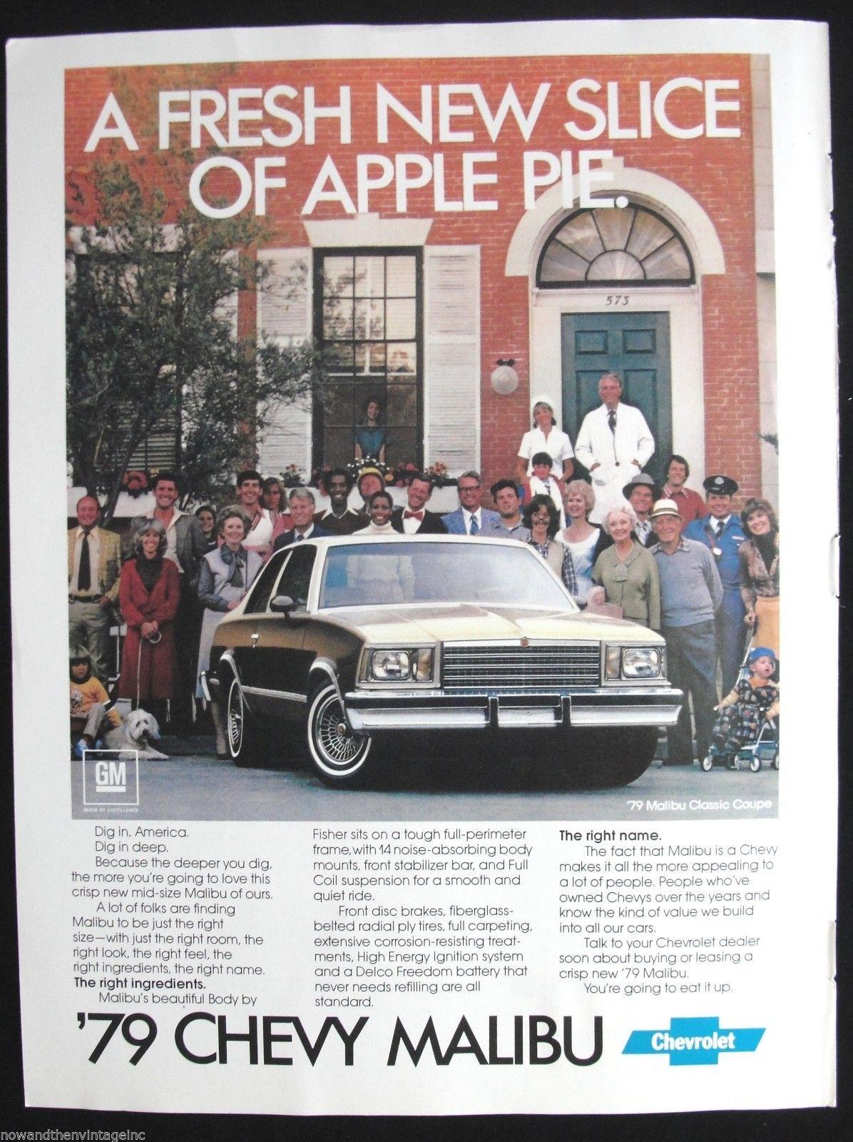 Vintage Ad 1979 Chevrolet Chevy Malibu Apple Pie Saturday Evening