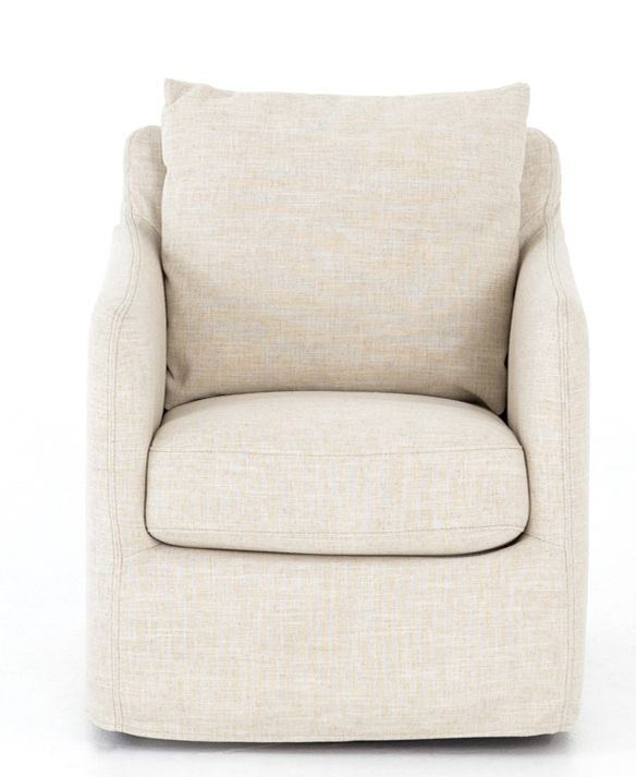 Chandra Swivel Chair, Ivory is part of Living Room Chairs Book - This cozy swivel chair is ideal for curling up and reading a good book  Enveloped in a soft ivory fabric, it features a plush cushion and removable pillow back for ultimate comfort