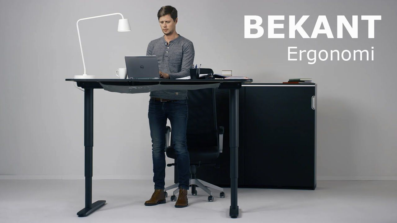 The New Ikea Bekant Sit Stand Desk Can Be Adjusted With The Push Of A Button Ikea Standing Desk Sit Stand Desk Adjustable Standing Desk Ikea