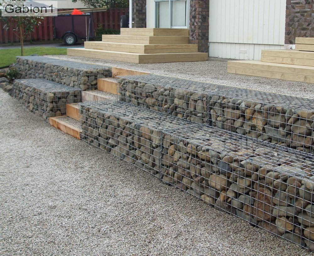 Stepped Gabion Retaining Wall