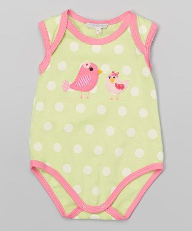 Another great find on #zulily! Lime & Pink Polka Dot Bird Bodysuit - Infant #zulilyfinds