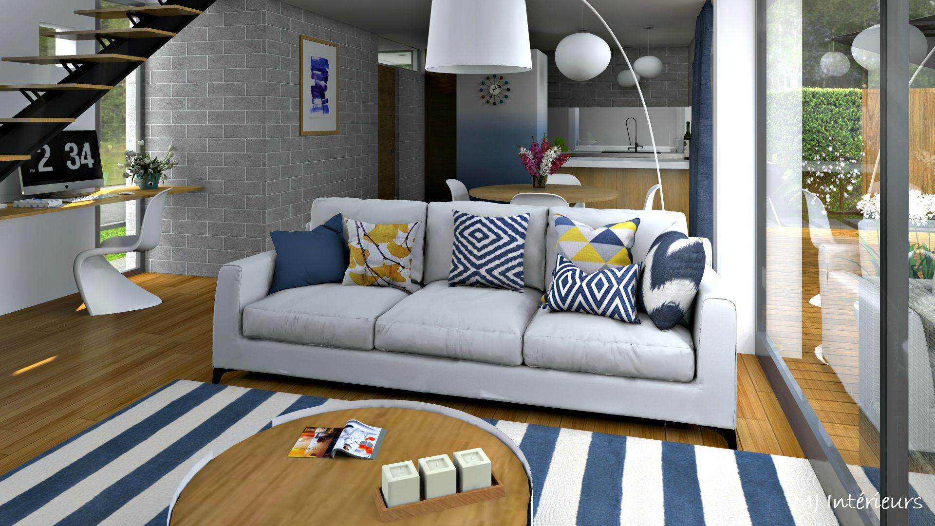 salon contemporain dans les tons bleu blanc gris et bois. Black Bedroom Furniture Sets. Home Design Ideas