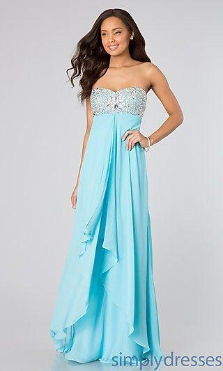 Long Strapless Empire Waist Dress By Faviana 7335 358 Formal Dance
