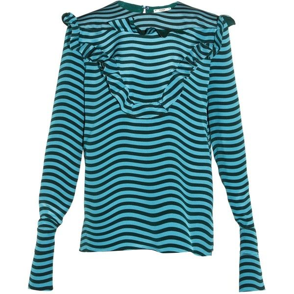 Fendi Ruffled-front striped silk-cady blouse ($1,600) via Polyvore featuring tops, blouses, flounce tops, blue blouse, silk ruffle blouse, ruffle top and blue top