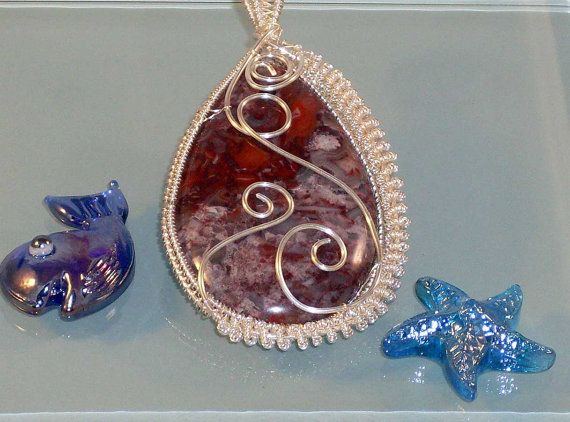 Silver Mexican Lace Agate Wire Wrapped Pendant by JewelsoftheNorth, $45.00