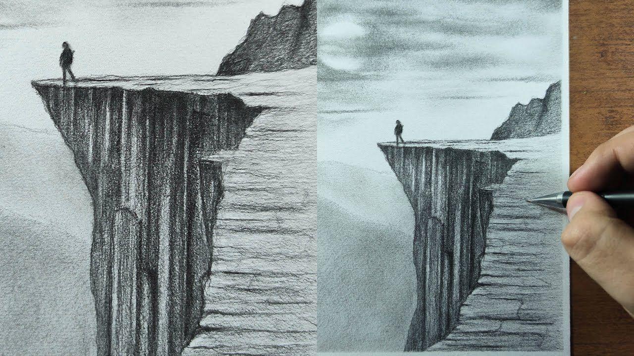 Como Dibujar Un Acantilado O Montanas Realista A Lapiz Paso A Paso P Landscape Drawings Landscape Drawing Easy Waterfall Sketch