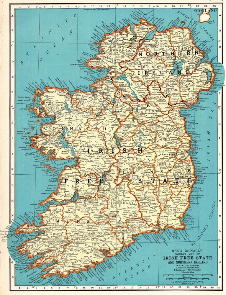 Details About Vintage 1934 Rand Mcnally Map Irish Free State