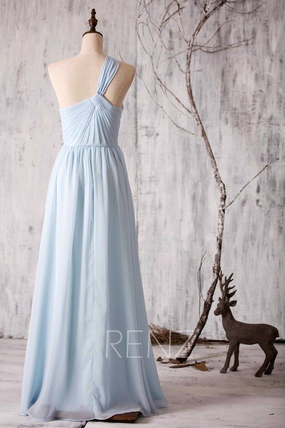Bridesmaid Dress Light Blue Chiffon Dress Wedding Dress One Shoulder Party Dress Open Back Prom Dress Keyhole Neck A-line Maxi Dress(Z047)
