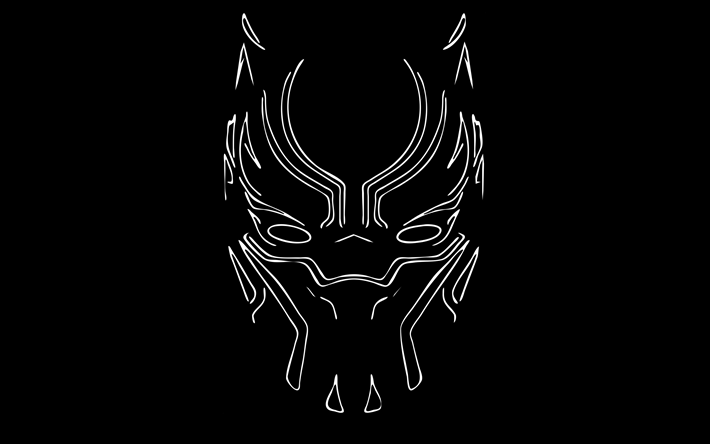 Download Wallpapers Black Panther 4k Linear Art 2018 Movie Superheroes Minimal Black Background Besthqwallpapers Com Black Panther Hd Wallpaper Android Wallpaper Black Black Hd Wallpaper