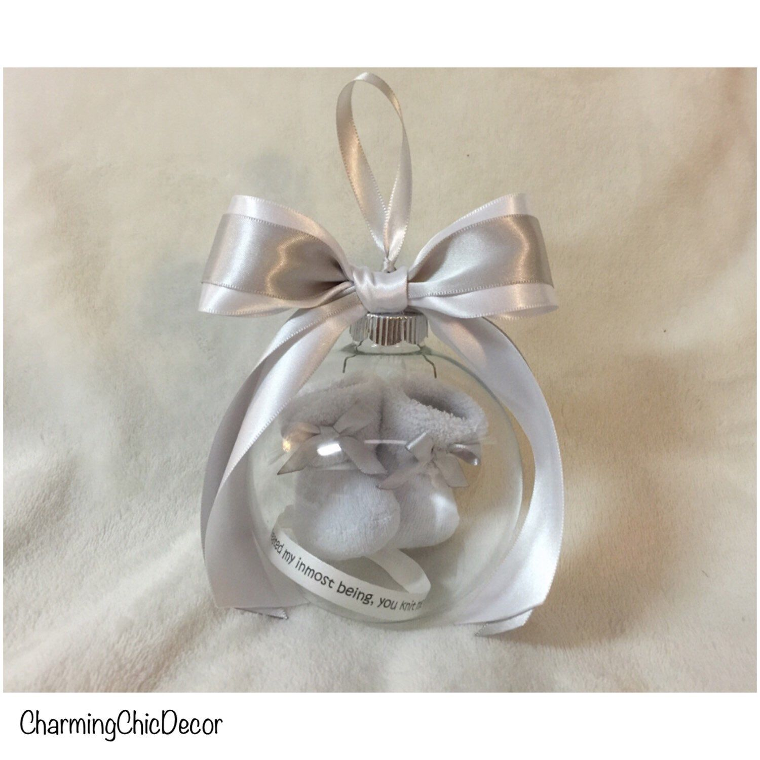 Baby loss ornaments - Pregnancy Loss Keepsake Ornament With Floating Baby Booties Baby Memorial Ornament With Bible Verse