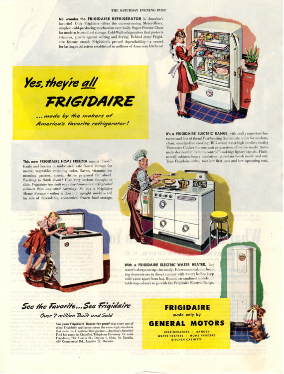 1946 Frigidaire Appliances Vintage Magazine Ad Made By General