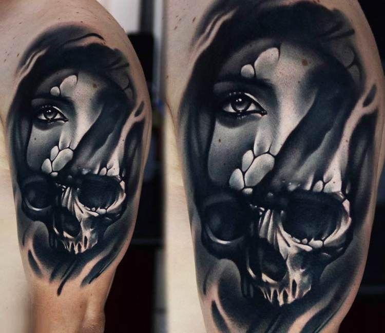 57ee64cd7c713 Skull Face tattoo by A D Pancho Skull Face Tattoo, Girl Face Tattoo, Bull  Tattoos