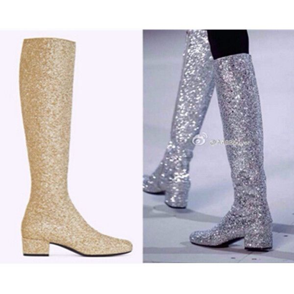 shoes knee high boots flat heels gold