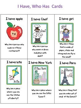 I Have Who Has Noun Game Teaching Nouns Nouns Esl Teaching