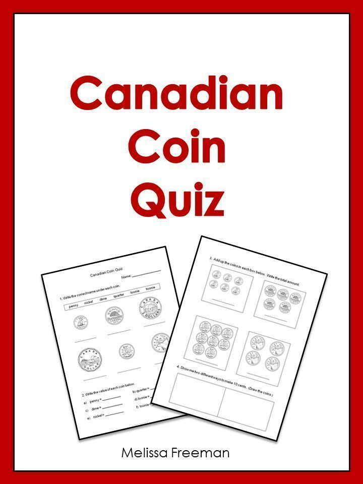 This Free 2 Page Canadian Coin Quiz Asks Students To Identify The