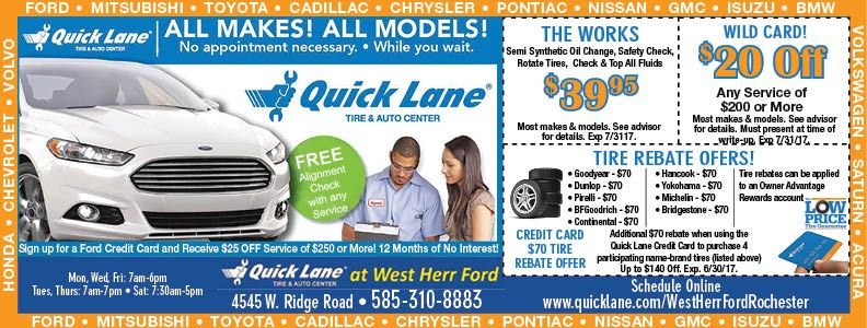Ask About Our Quick Lane Credit Card In Rochester Ny Take Care Of