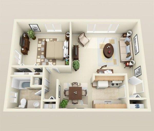 50 Plans en 3D d\u0027appartement avec 1 chambres Floor layout