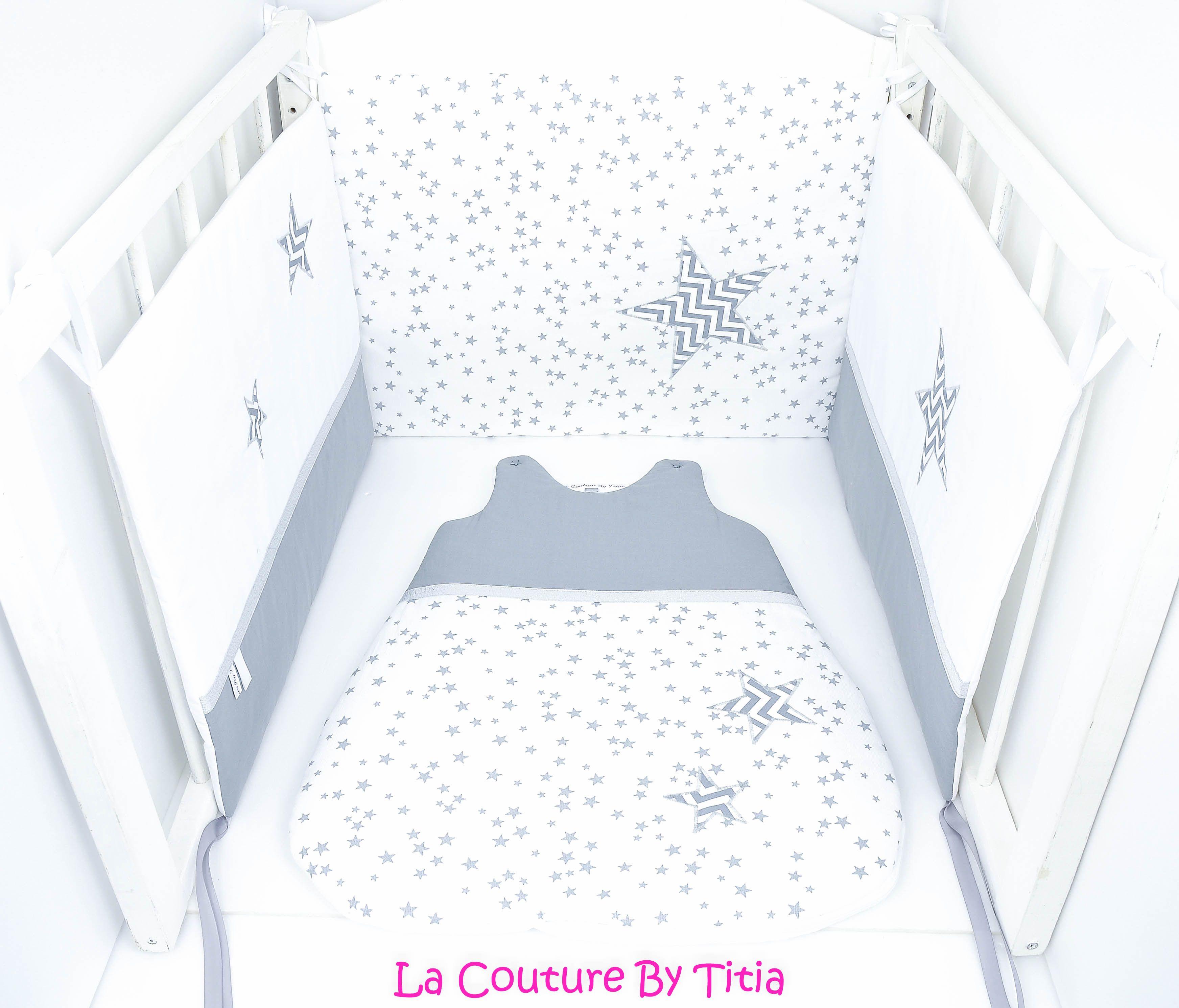 tour de lit bébé créateur Tour de lit et Gigoteuse blanc et étoiles chevron gris | Ensemble  tour de lit bébé créateur