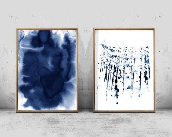 Abstract watercolor prints set indigo blue pink minimal watercolor abstract prints set of two brushstrokes paint