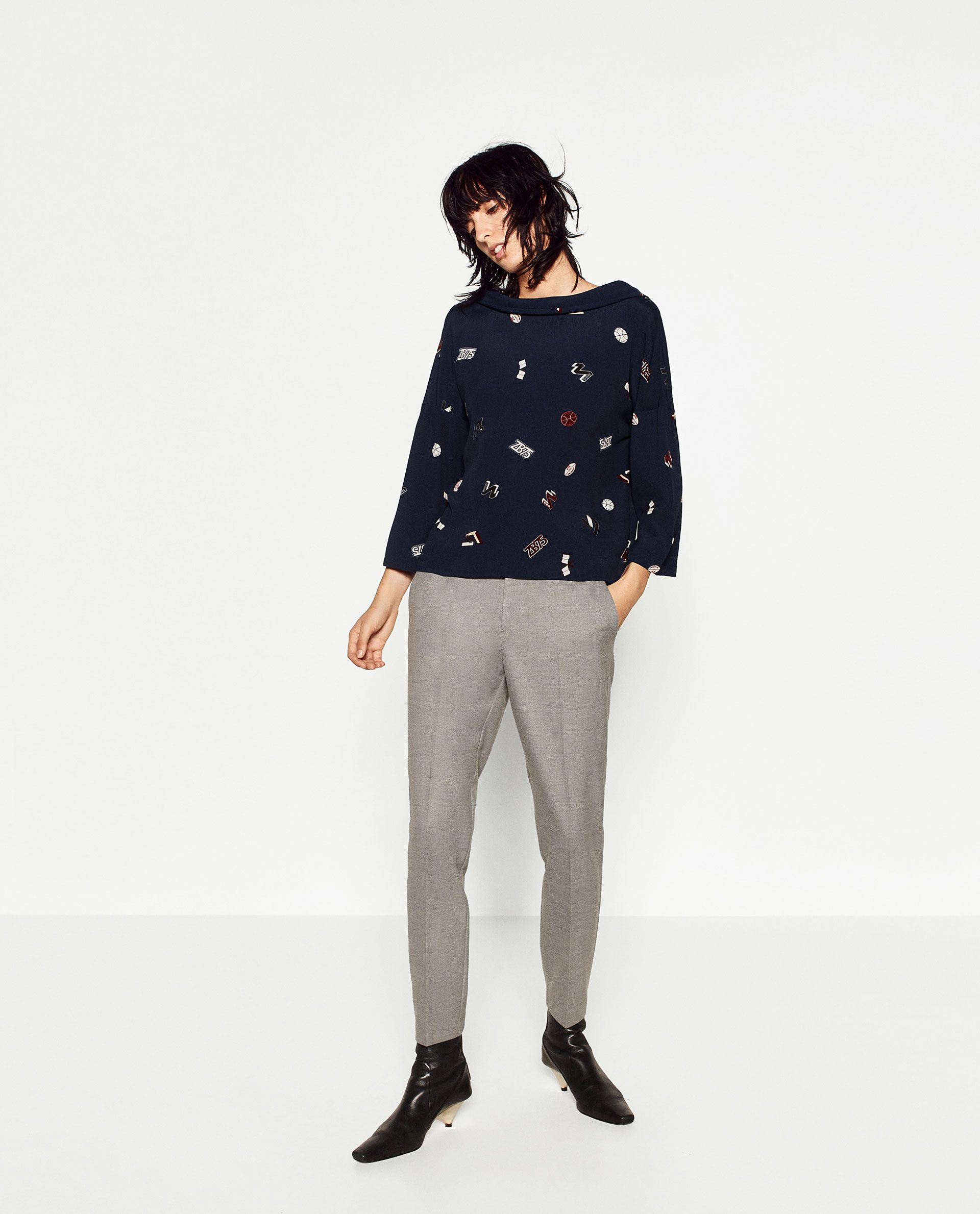 Image 1 of PRINTED OVERSIZE BLOUSE from Zara