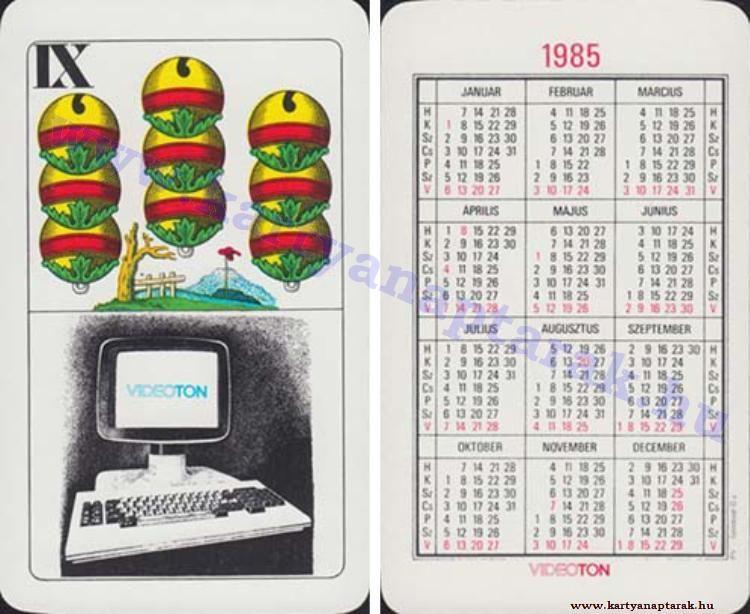 1985 1985 0256 Regi Magyar Kartyanaptarak Pink