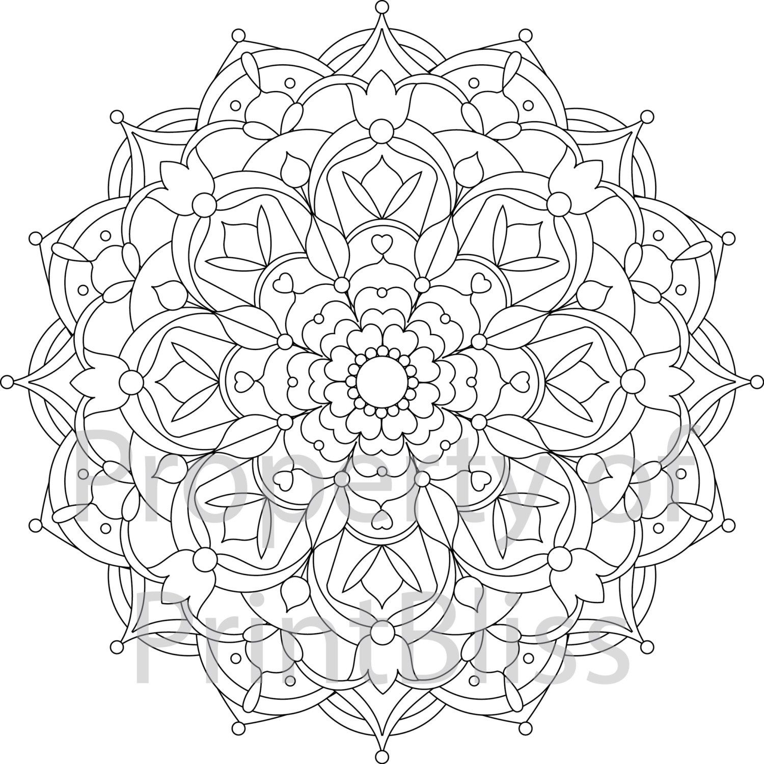 22 flower mandala printable coloring page by printbliss on etsy art my work pinterest. Black Bedroom Furniture Sets. Home Design Ideas