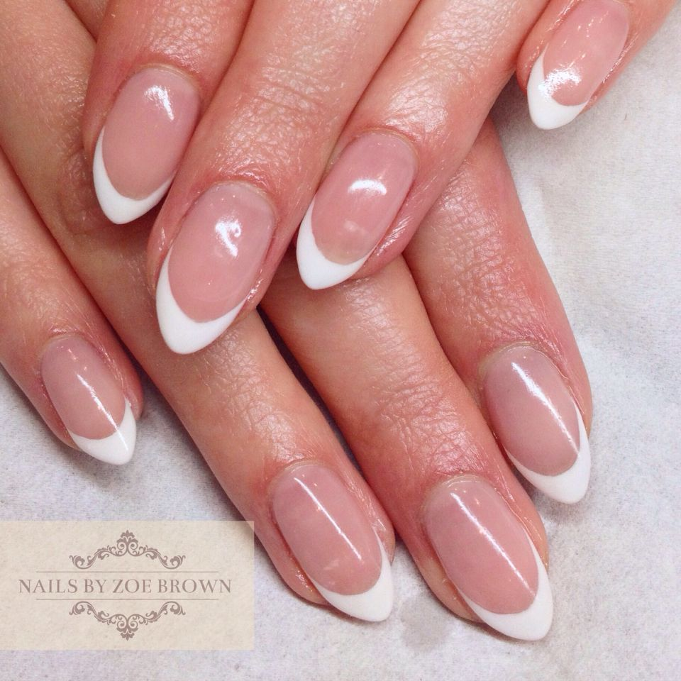 Cnd Shellac French Manicure Almond Shape Nails Shellac French