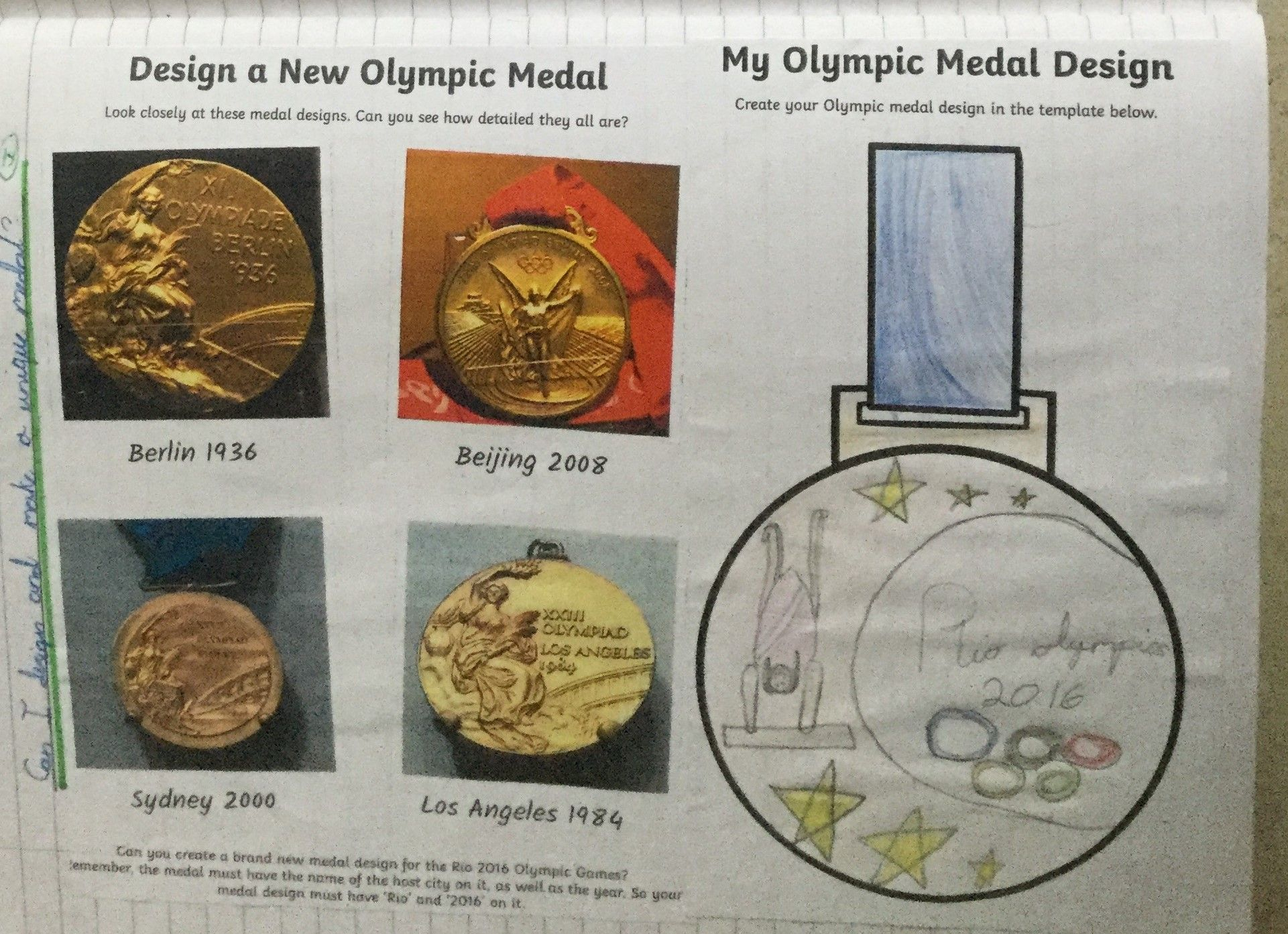 Olympics Inspired Writing Year 2 Project Medal Design