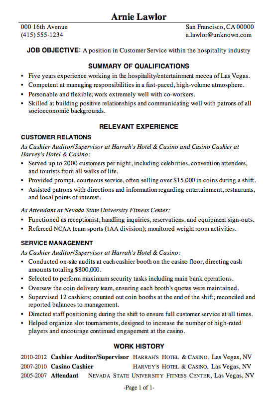 Resume Sample Customer Service Hospitality  Debt Free